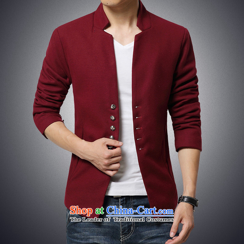 Goulley log?new men about 2015 the jacket short men's jackets and Korean Chinese tunic suit collar segment wine red?2XL