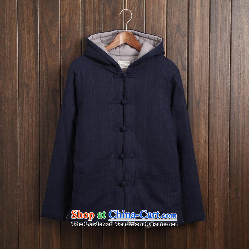Dan Jie Shi jacket male China wind cotton linen men Tang tray clip hoodie retro ethnic linen color navy men's jackets cotton聽XXXL Folder