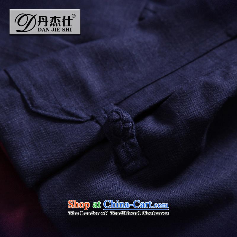 Dan Jie Shi jacket male China wind cotton linen men Tang tray clip hoodie retro ethnic linen color navy men's jackets clip cotton聽XXXL, Dan Jie Shi (DAN JIE SHI) , , , shopping on the Internet