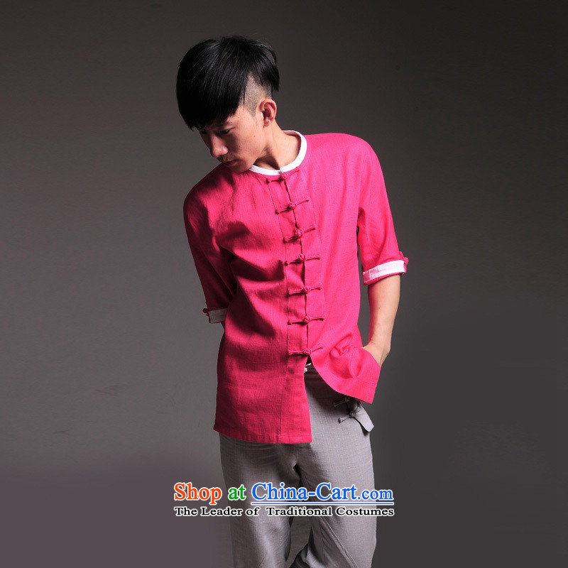 Seventy-Tang Tang dynasty and refreshing peach short-sleeved T-shirt high-end linen T-shirt young Tang knocked color summer services 49 Peach red?M