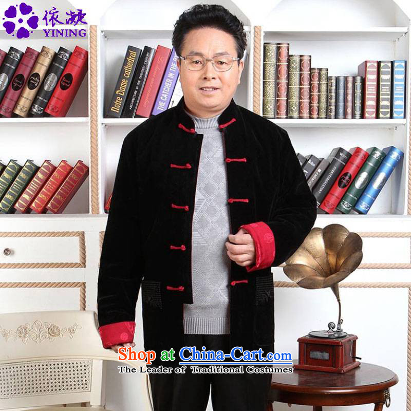 In accordance with the fuser retro ethnic autumn and winter trendy new_ Older Men's Mock-Neck single row detained two-sided wear father replacing Tang jackets D - 1 black and red?3XL _2388_