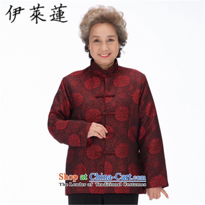 Hirlet Ephraim聽2015 autumn and winter new elderly father mother golden marriage birthday birthday Tang dynasty grandparents to couples stamp leisure 茫镁貌芒 jacket, dark red聽5XL female