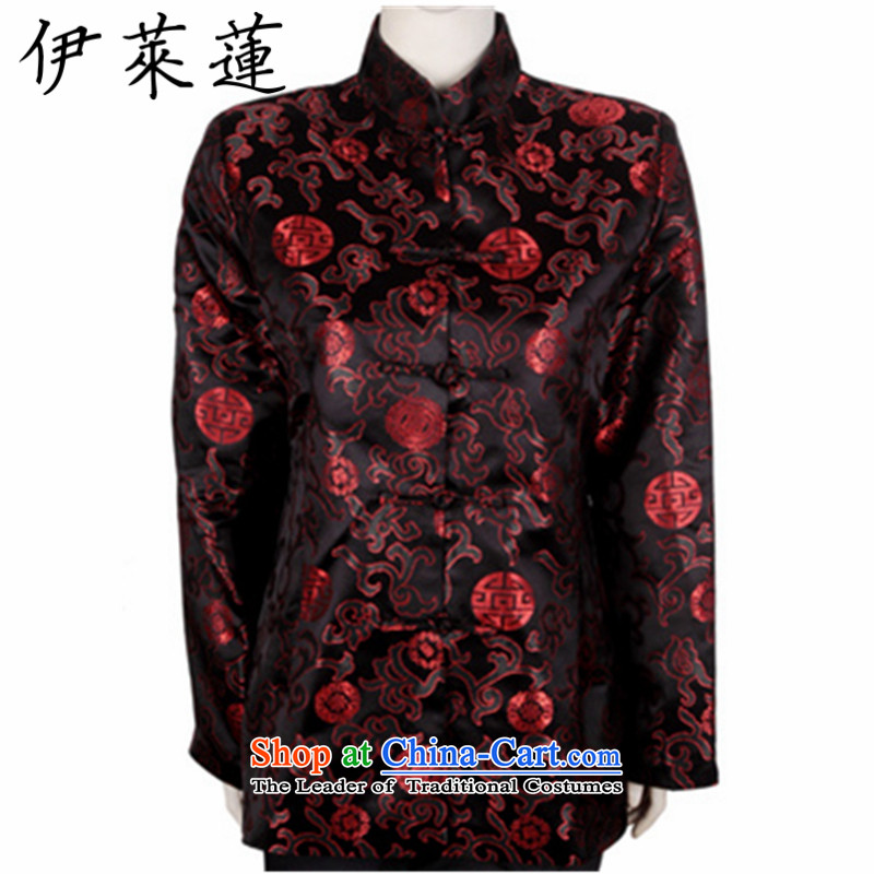 Hirlet Ephraim�2015 older persons, the autumn and winter couples shou birthday golden marriage Tang dynasty cotton coat of ethnic grandfathers birthday birthday retro Tang dynasty couples with ladies Black�XL