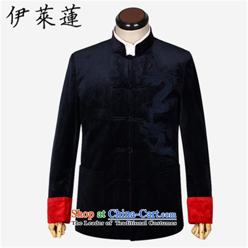 Hirlet Ephraim�15 autumn and winter, Chinese style wedding banquet in the father of older Men's Mock-Neck Shirt Grandpa embroidered dragon wedding velvet jacket blue Tang�5
