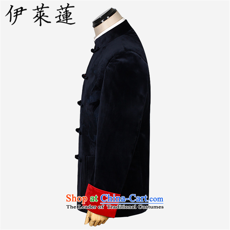 Hirlet Ephraim聽2015 autumn and winter, Chinese style wedding banquet in the father of older Men's Mock-Neck Shirt Grandpa embroidered dragon wedding velvet jacket blue Tang聽185, Electrolux Ephraim ILELIN () , , , shopping on the Internet