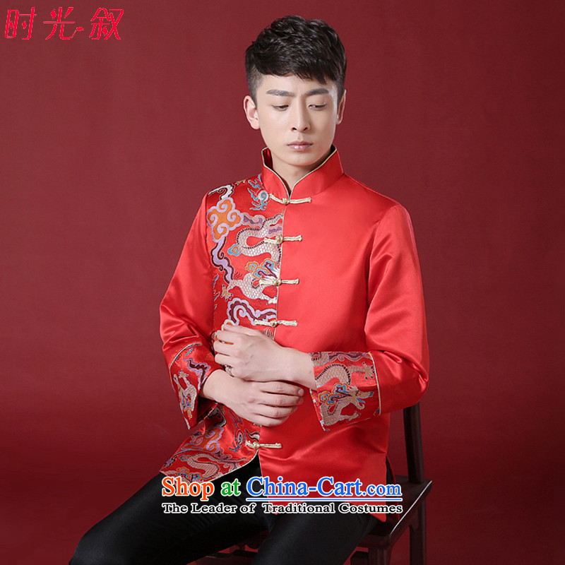Time the new Syrian of Chinese wedding red bridegroom marriage Soo Wo service men dress bows services use the Tang Dynasty to the dragon costume red XS