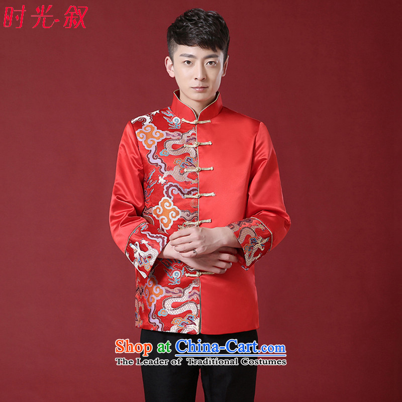 The Syrian-soo wo service time men's Chinese-style robes retro fitted the bridegroom robe wedding dress men costume marriage solemnisation dress Tang Dynasty Chinese tunic clothing Tang Dynasty style robes red燲S
