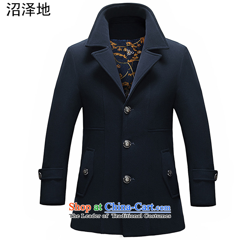 The marsh Tang Dynasty Chinese tunic male summer, autumn and winter 2015 New Men national costumes Korean a trendy wind jacket dark blue XL