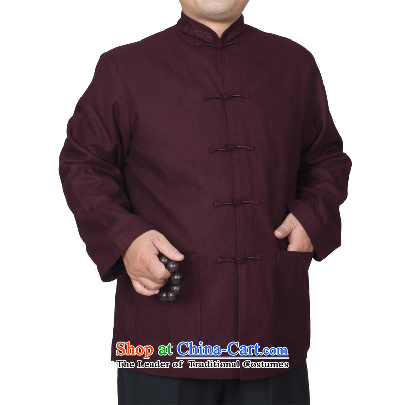 The Cave of the elderly 15 autumn and winter new solid color embroidery upscale Tang dynasty men casual jackets T9825 father purple cotton plus 165 yards