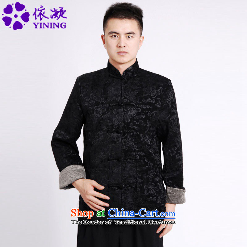 In accordance with the fuser retro Chinese improvement elderly men blouses collar suit father boxed jacket costumes tang Life Too Old _M0036_ services -A black聽L