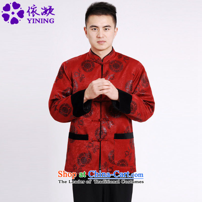 In accordance with the fuser retro Chinese improvement elderly men blouses collar suit father boxed jacket over Shou Tang costumes ancient /M0037# red cotton plus?2XL