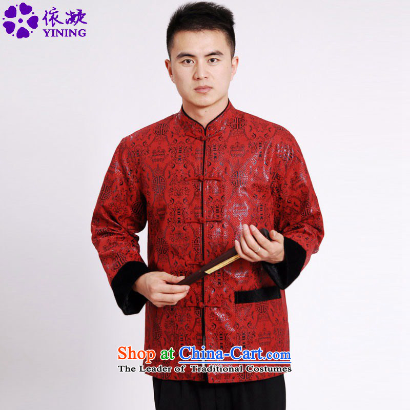 In accordance with the fuser retro national wind in older Men's Mock-Neck Shirt Tang dynasty stitching father replacing Tang jackets wedding _M0040_ ancient costumes RED聽M