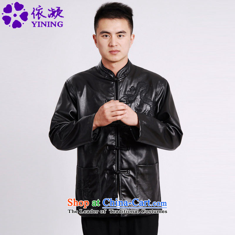 In accordance with the fuser retro Chinese elderly in the improvement of Men's Mock-Neck leather jacket embroidered dragon design load father Tang jacket over life will /M0041# ancient -A black�3XL