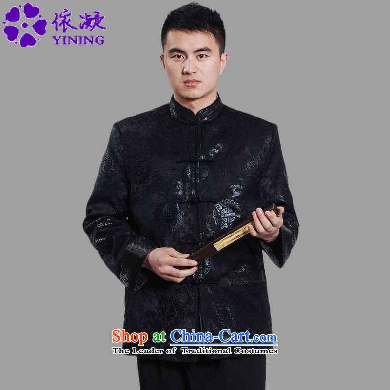 In accordance with the improved coordination of the fuser retro Chinese Tang dynasty robe jacket collar stitching Classic tray clip loaded Tang dynasty cotton father costumes ancient /M0045# -B DARK BLUE�XL