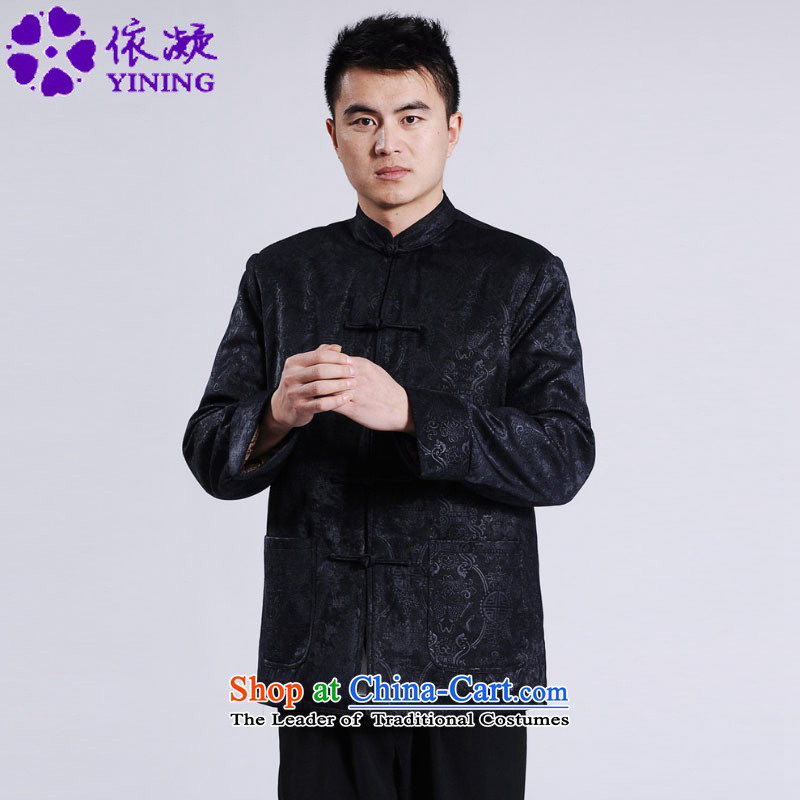 In accordance with the fuser retro ethnic Chinese men and Tang dynasty robe jacket collar suit single row detained father replacing Tang dynasty ?t��a life will have a dark blue?3XL /M0046 ancient