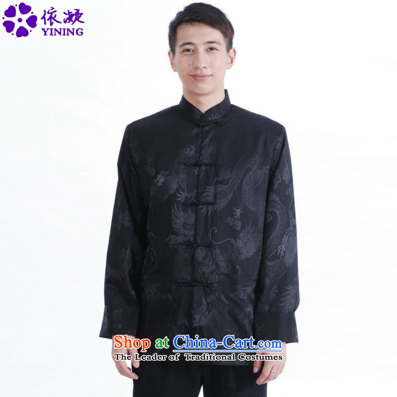 In accordance with the consultations Chinese Antique gel blouses Mock-neck dragon design suit load father Tang jacket over life will _M1145_ ancient black?2XL