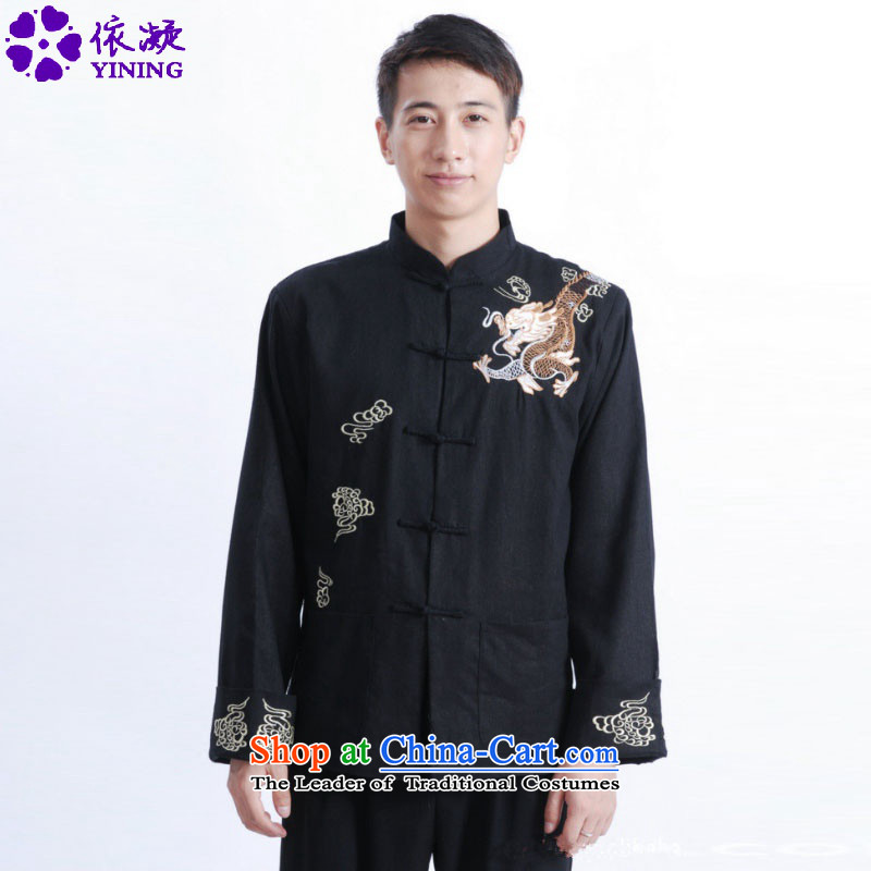 In accordance with the fuser retro Chinese improved men Tang blouses collar embroidery in older father replacing Tang jackets /M1121# ancient costumes black?2XL