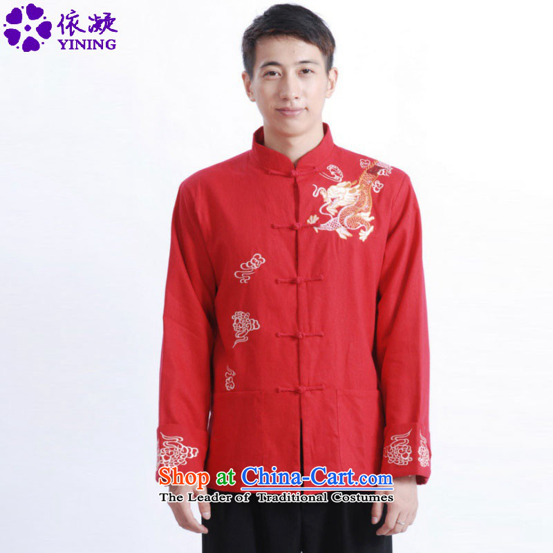 In accordance with the fuser retro ethnic Chinese men Tang blouses father replacing Tang jacket over life will ancient /M1122#?3XL red