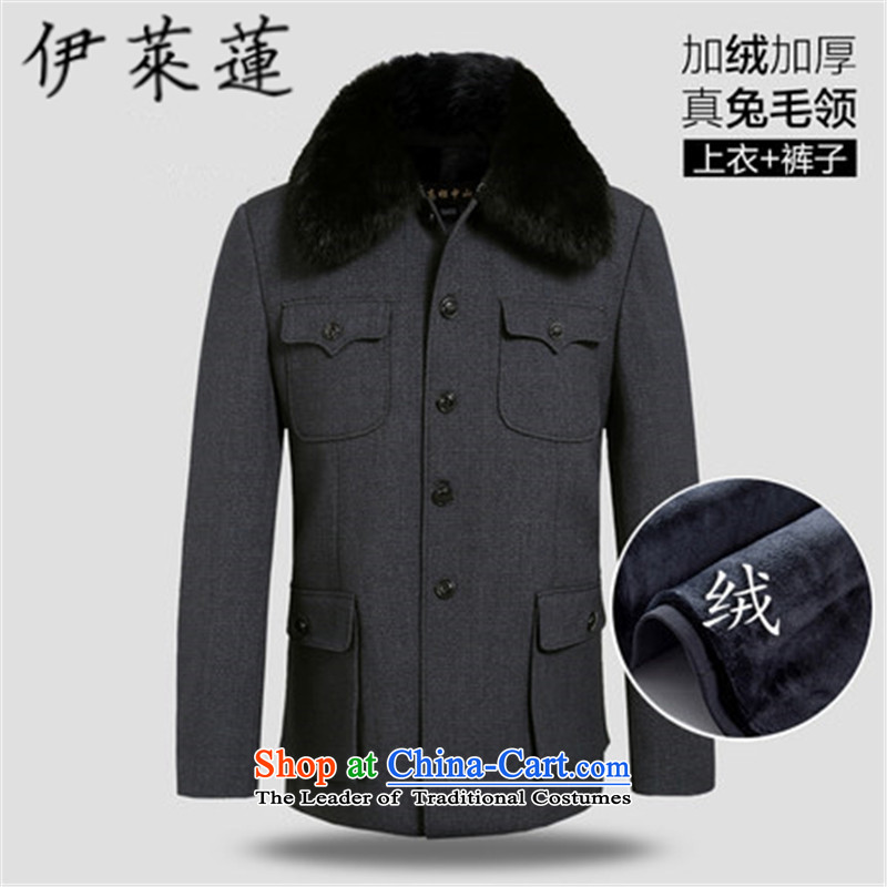Hirlet Ephraim�15 autumn and winter_ older Chinese tunic suit simple casual older persons father boxed lapel Zhongshan services father of men gross for coat�0_72