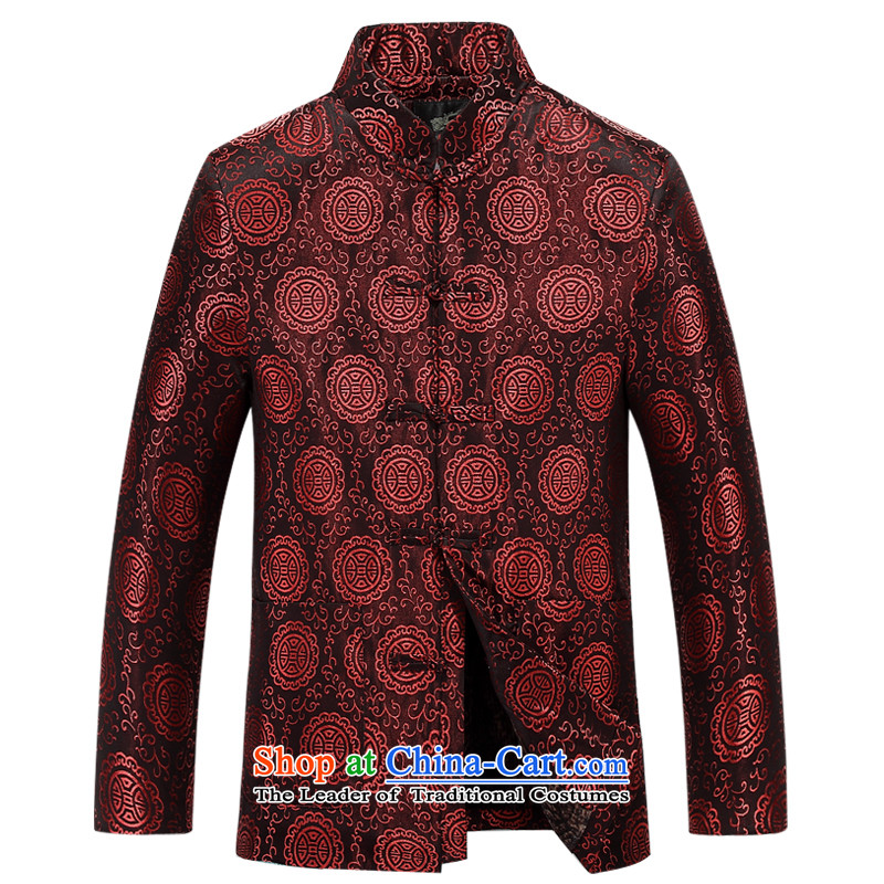 Aeroline autumn and winter new men father replacing collar business and leisure suit cotton coat deep red�0