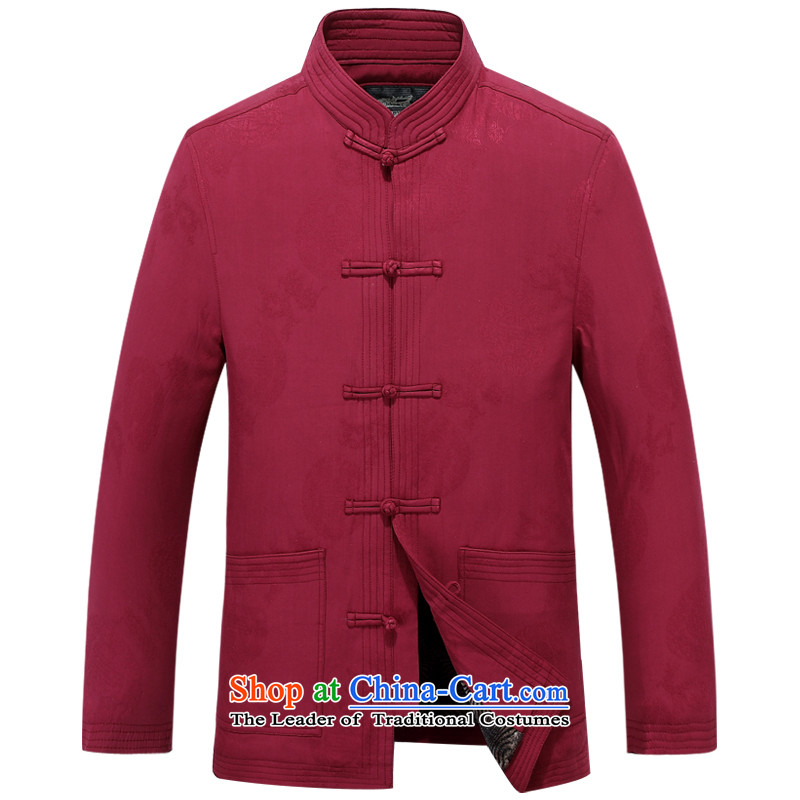Aeroline autumn and winter new men father replacing collar business and leisure solid color cotton coat deep red?170