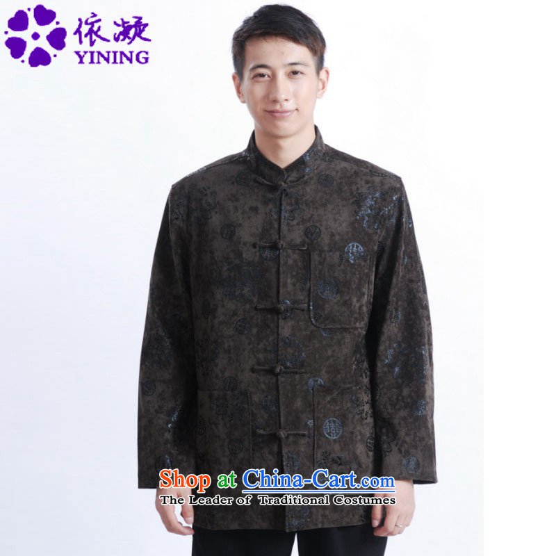 In accordance with the fuser retro Chinese men's improved long-sleeved shirt collar Classic tray clip loaded father Tang jacket over life will /M0025# ancient pickled -C Green?M