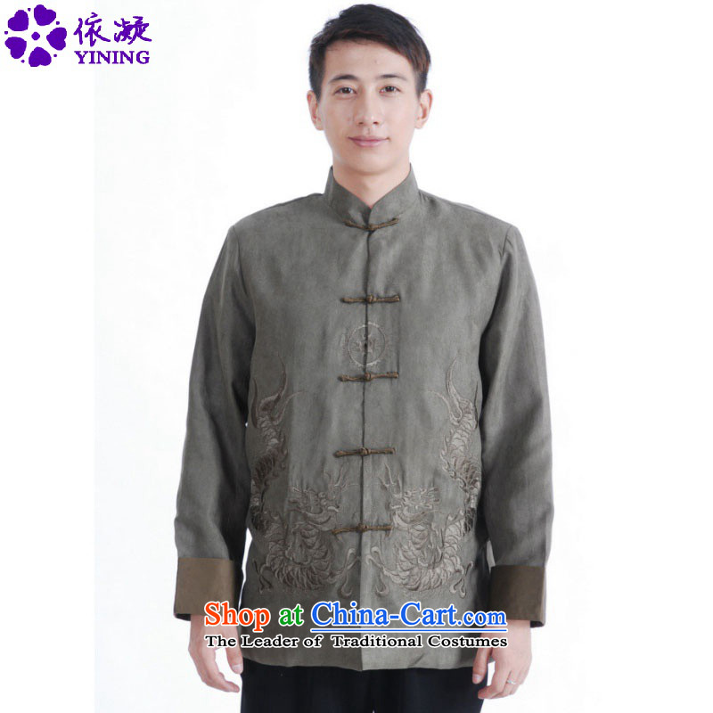 In accordance with the fuser retro ethnic Chinese male Tang blouses collar double dragon embroidery in older father replacing Tang jackets /M1146# ancient costumes green?XL