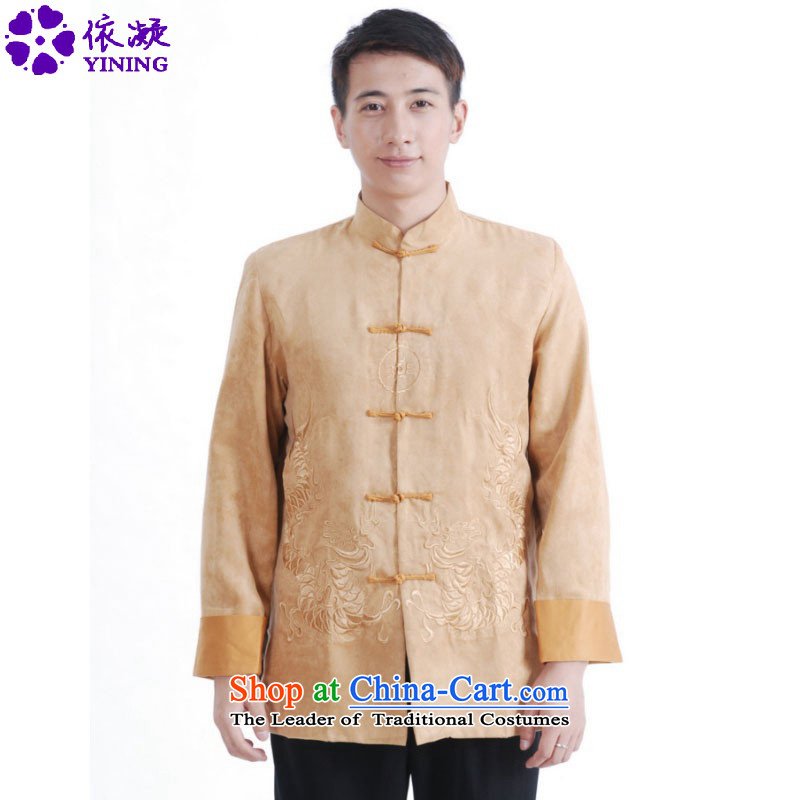 In accordance with the fuser ethnic Chinese male Tang blouses improved Mock-neck classical disc is older father replacing Tang jackets costumes _M1148_ ancient Yellow聽M