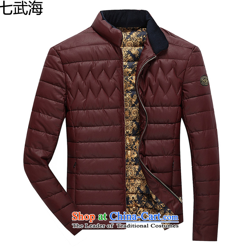 7 Moo 4 Tang Dynasty Chinese tunic 2015 autumn and winter New Men's Mock-Neck national costumes Korean leather jacket stylish male and 8993 Summer BOURDEAUX XL