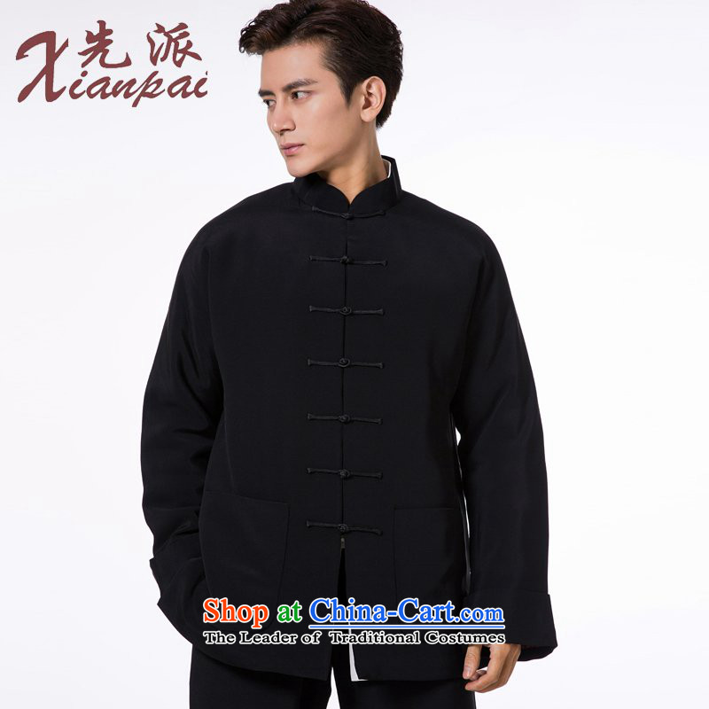The dispatch of heavyweight silk cotton-Tang dynasty male winter even shoulder China wind in the new Chinese robe older pre-sale new black heavyweight silk cotton M   new pre-sale three days to send out