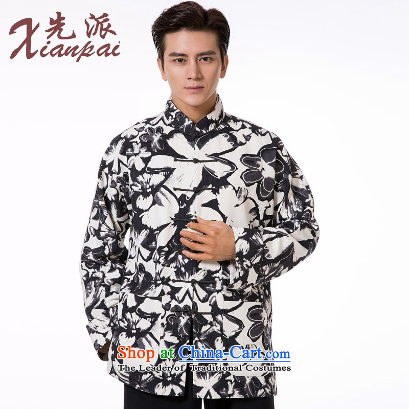 The dispatch of Tang Dynasty Male Silk linen dresses high end traditional feel China wind collar tray clip jacket for the pre-sale of the new Flower silk garment ma聽4XL 聽new pre-sale three days to send out
