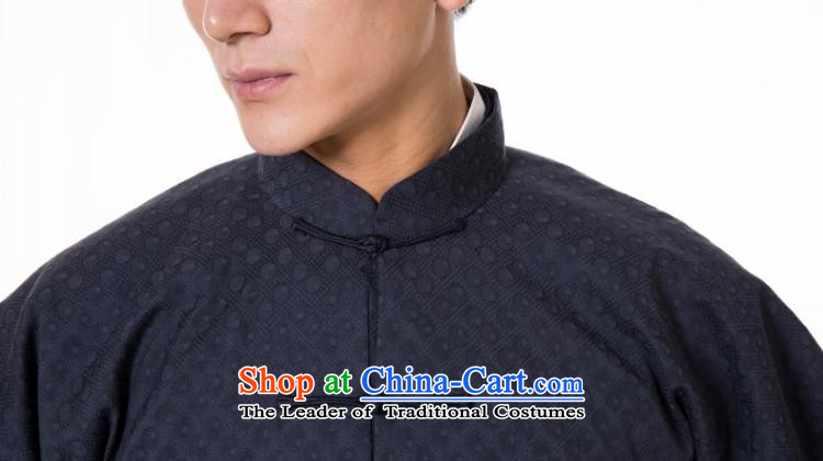 The fall of the dispatch of Tang Dynasty Chinese Male Silk linen long-sleeved shirt retro China wind even traditional cuff new pre-sale blue-gray dot style robes聽M  聽new pre-sale three days to send out a picture, prices, brand platters! The elections are supplied in the national character of distribution, so action, buy now enjoy more preferential! As soon as possible.