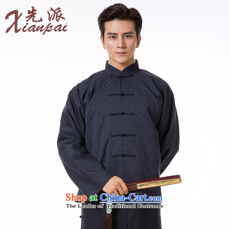 The fall of the dispatch of Tang Dynasty Chinese Male Silk linen long-sleeved shirt retro China wind even traditional cuff new pre-sale blue-gray dot style robes聽M  聽new pre-sale three days to send out
