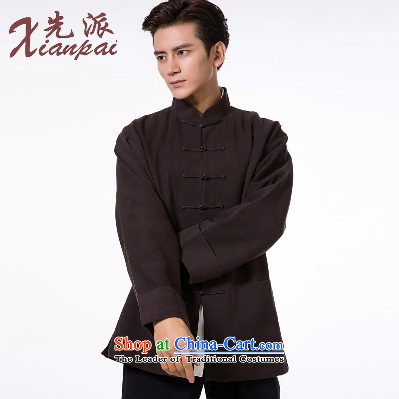 To send the new pre-sale of Tang Dynasty during the spring and autumn men long-sleeved sweater dress new Chinese Disc detained collar father jacket coffee-colored bars silk jackets 3XL   new pre-sale three days to send out