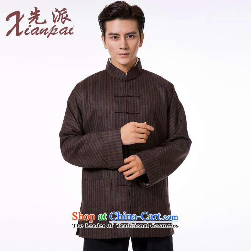 The dispatch of pre-sale Tang Dynasty Men long-sleeved jacket wool Stylish spring and autumn China wind even traditional shoulder mock coffee-colored bars wool garment?M  ?new pre-sale three days to send out