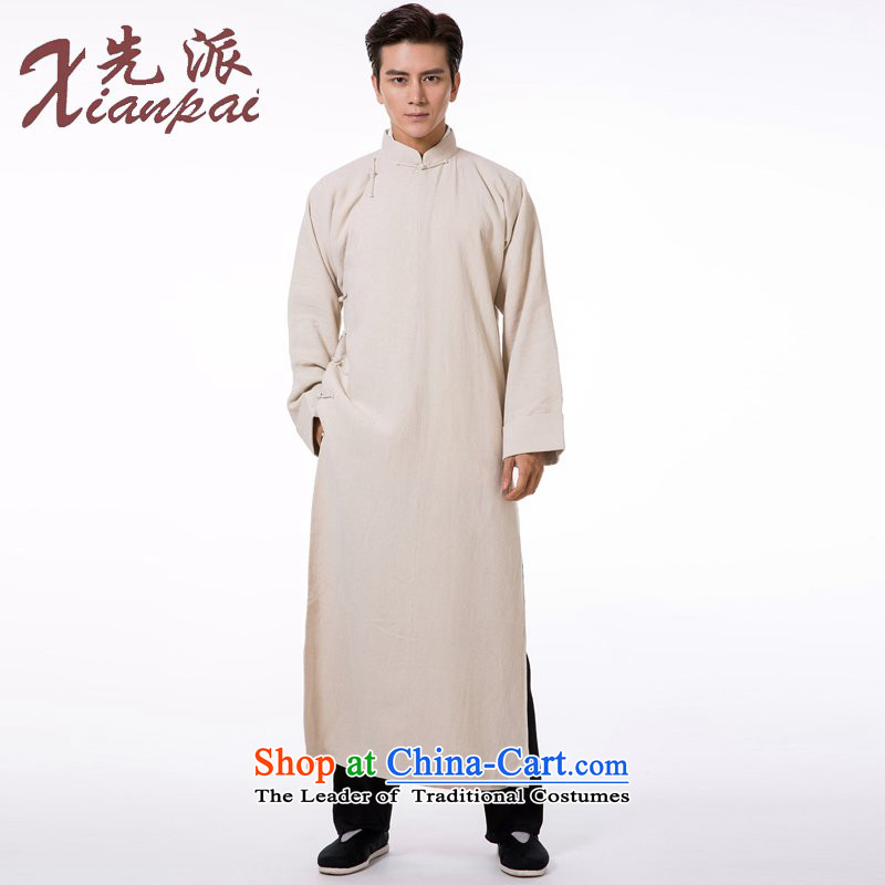 The dispatch of autumn and winter Tang dynasty male linen gowns robe Chinese Teahouse tray clip Cheongsams China wind new pre-sale commission natural robe 2XL   new pre-sale three days to send out