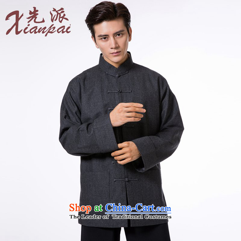 To send the new pre-sale of Tang Dynasty during the spring and autumn men's woolen? thick outer high-end fashion traditional even cuff China wind small gray woolen garment point?L  ?new pre-sale three days to send out