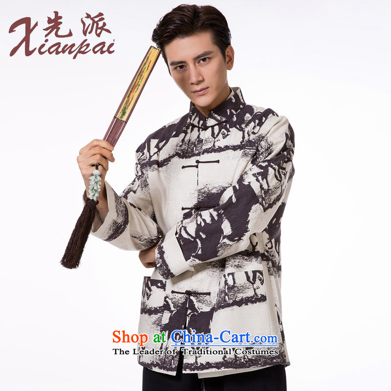 To send the new pre-sale of Tang Dynasty Men's Long-Sleeve silk linen dresses high end traditional feel China wind empties with earth wire ma garment�4XL  �new pre-sale three days to send out