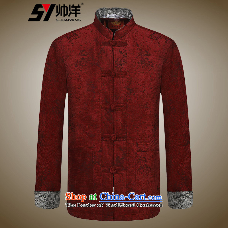 Shuai 2015 men ocean cotton jacket in Tang Dynasty older winter clothing Chinese robe manually drive Chinese Wind cotton coat wine red聽180