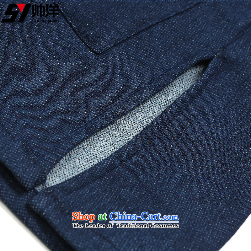 2016 Chun Yang Shuai knitted cowboy men Tang dynasty long-sleeved shirt is detained China Wind Jacket stretch jacket Denim blue聽170, yang (Shuai SHUAIYANG) , , , shopping on the Internet