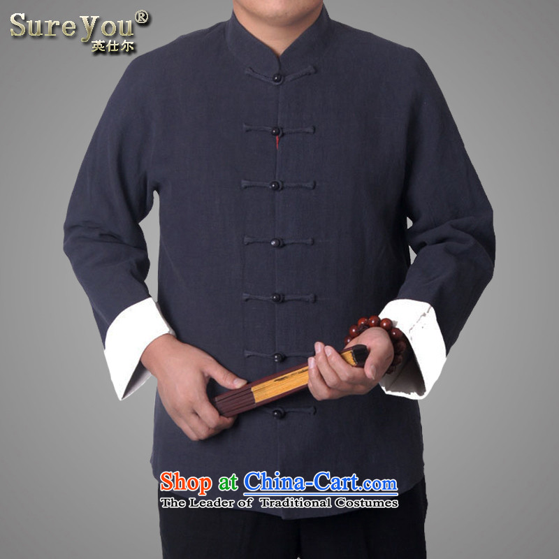 Men's autumn duplex sureyou explosion Yi Tang dynasty of leisure in long-sleeved jacket older Chinese Tang dynasty Tang dynasty national services promotion reversible nacre/single-sided through?190