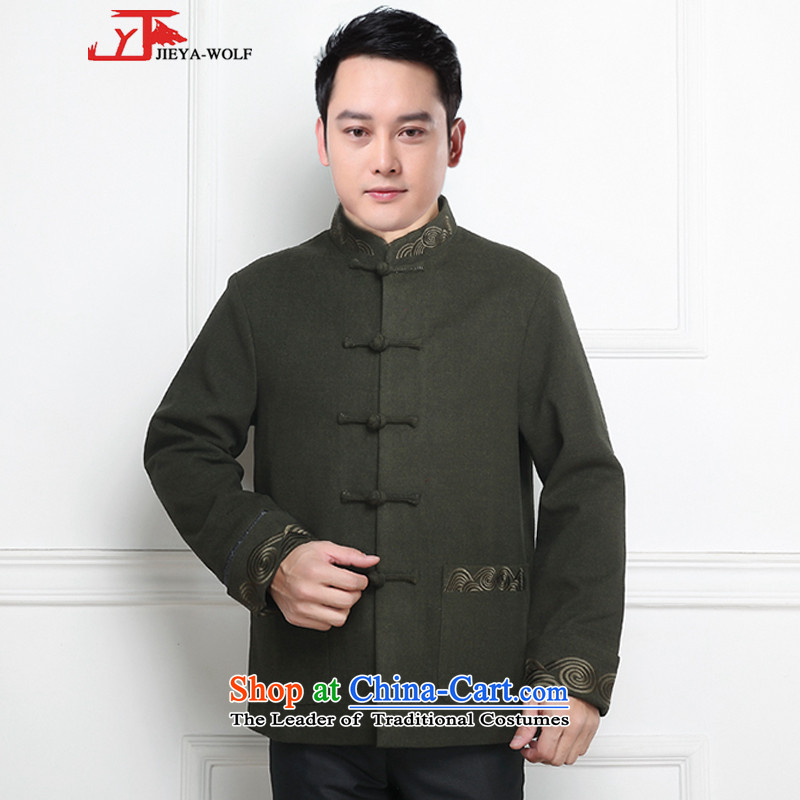 - Wolf JIEYA-WOLF, New Tang Dynasty Men's Winter Spring and Autumn Chinese tunic and stylish lounge national men's clothing, Army Green?175/L Tai Chi