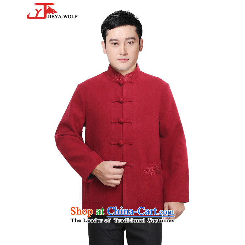 - Wolf JIEYA-WOLF, New Tang Dynasty Men's Winter Spring and Autumn Chinese tunic and stylish lounge national men's clothing, Red?185/XXL Tai Chi