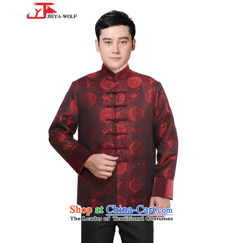 - Wolf JIEYA-WOLF, New Tang Dynasty Men's Winter Spring and Autumn Chinese tunic and stylish lounge national men's clothing, deep red聽190_XXXL Tai Chi