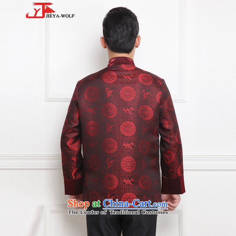 - Wolf JIEYA-WOLF, New Tang Dynasty Men's Winter Spring and Autumn Chinese tunic and stylish lounge national men's clothing tai chi, deep red聽190/XXXL,JIEYA-WOLF,,, shopping on the Internet