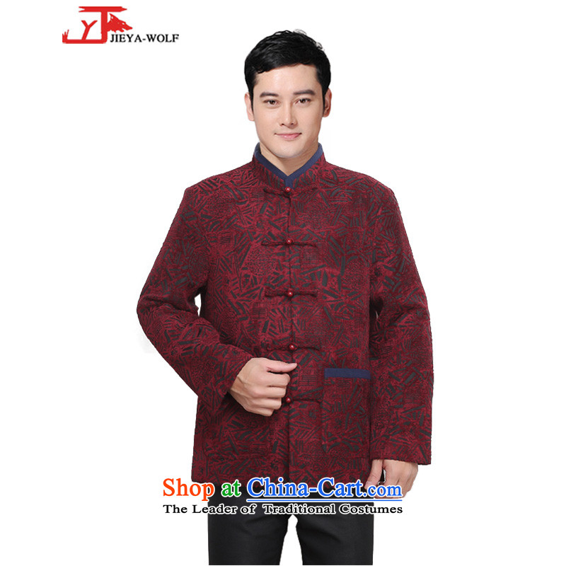 - Wolf JIEYA-WOLF, New Tang Dynasty Men's Winter Spring and Autumn Chinese tunic and stylish lounge national men's clothing, deep red?170_M Tai Chi
