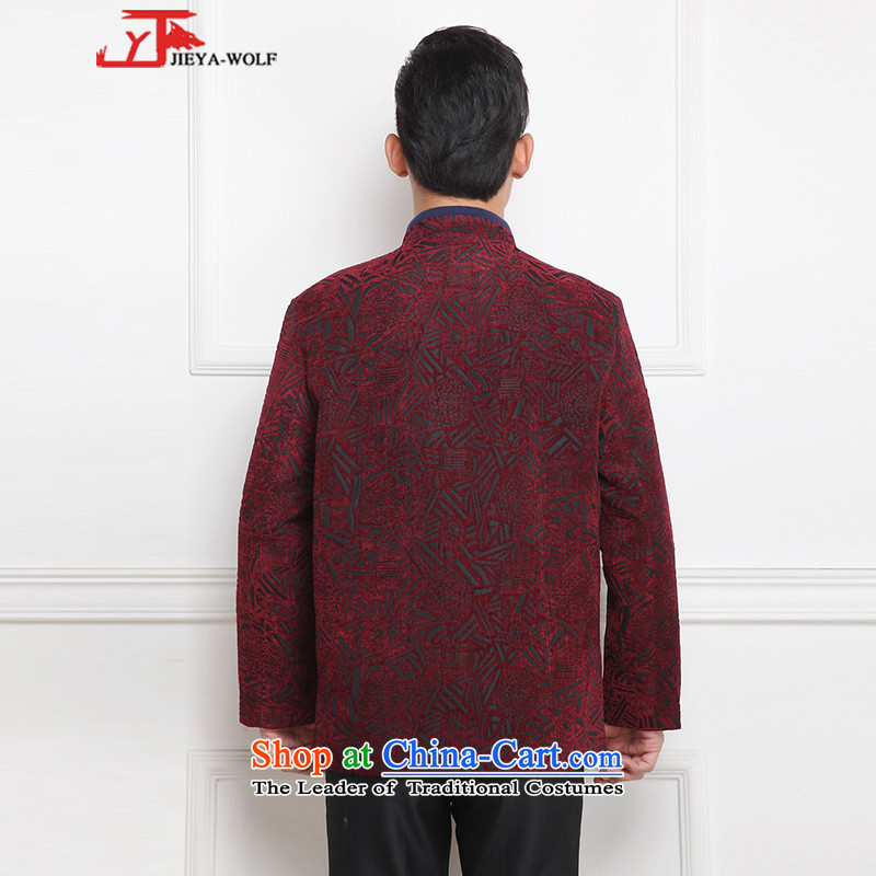 - Wolf JIEYA-WOLF, New Tang Dynasty Men's Winter Spring and Autumn Chinese tunic and stylish lounge national men's clothing tai chi, deep red聽170/M,JIEYA-WOLF,,, shopping on the Internet