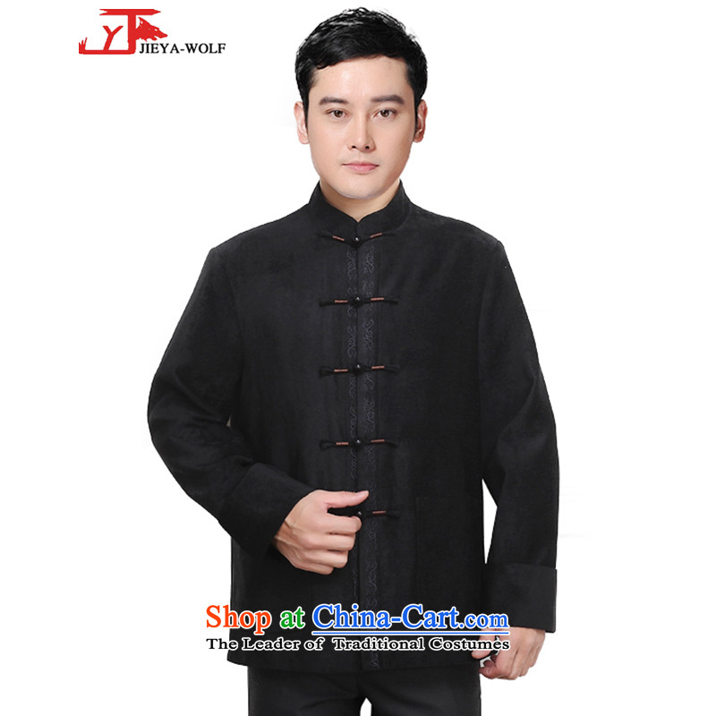 - Wolf JIEYA-WOLF, New Tang dynasty men's autumn and winter coats cotton coat Chinese tunic pure color is smart casual dress black cotton coat?175/L