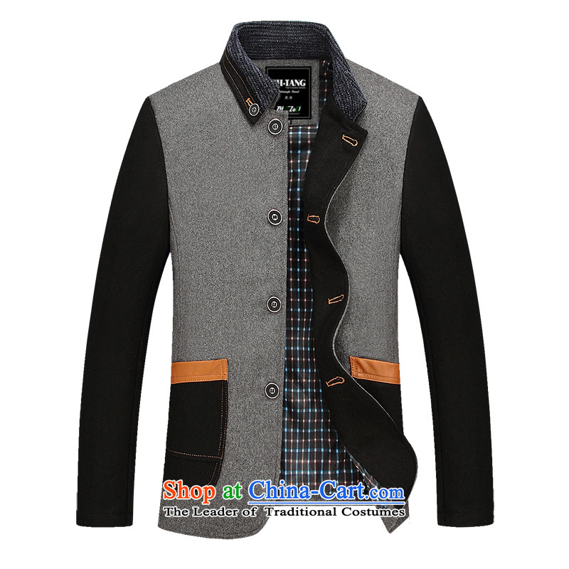 Tang Dynasty Chinese tunic?2015 autumn and winter new products on a new man jacket gross? a wool coat jacket, black thin?XL