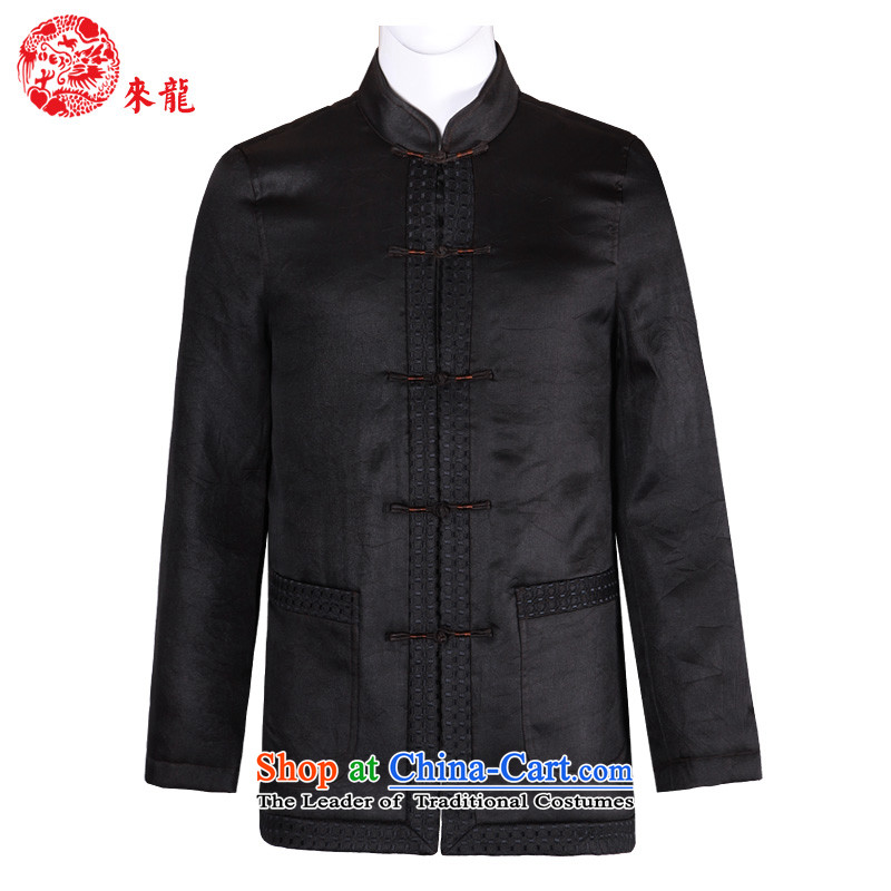 To Tang Dynasty Dragon聽2015 autumn and winter New China wind in older men sauna silk yarn jacket聽15622 cloud of incense聽deep coffee-colored聽52